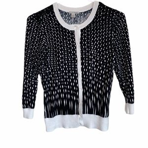 Halogen Black and White Button Cardigan Small